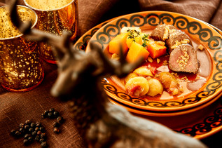 Schweinefilet mit Trauben und Muskatkürbis